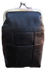 New London Stitch Womens Leather Cigarette Case Holder with Lighter Pocket Black