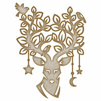 Stag with Ornate Antlers  MDF Laser Cut Craft Blanks in Various Sizes