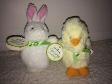 Hallmark Easter Bunny & Chick Plush Electronic Toys w/ Sound & Motion Set Of 2