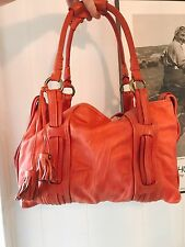 Marc Jacobs Coral Orange Leather Handbag Bag Purse Tote Slouchy Purple Suede