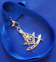 Masonic Collar SILVER Jewel PAST MASTER with Blue NECK Strap by DEURA USA
