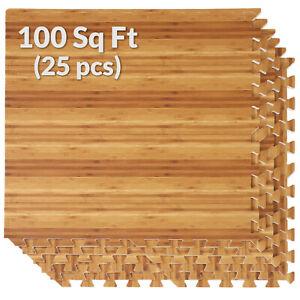 "100 SqFt 3/8"" Bamboo Print Interlocking Foam Mat for Home Office 2'X2' 25pcs"