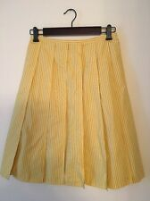 Yellow And Gray Striped Pleated Skirt small
