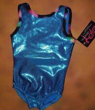 NWT BP Designs Gymnastic Turquoise Foil Tank Leotard Multi Color Trim Youth X-Sm