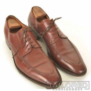 SANTONI Solid Brown Leather Mens Moc Toe Derby Dress Shoes - 14