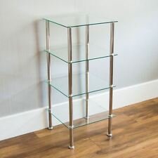 4 Tier Glass Shelf Unit Clear Shelving Storage Square Modern By Home Discount