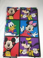 Disney Mickey Minnie Donald Goofy Twin Flat Sheet & 2 Pillowcases Vintage Fabric