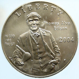 2004 UNITED STATES Thomas Edison INVENTOR of LIGHT BULB SILVER $ Coin ICG i96969