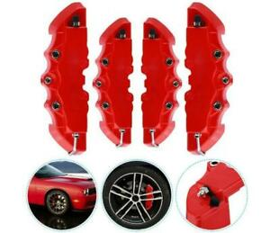 4PCS 3D Red Car Universal Disc Brake Caliper Covers Front & Rear Accessories Set