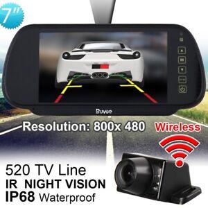 "7"" WIRELESS CAR BUS VAN REAR VIEW KIT LCD MIRROR MONITOR + IR REVERSING CAMERA"