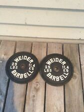 """Two 25  Lb Vintage WEIDER BARBELL Plates - 1"""" Hole"""