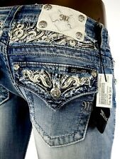 "$108 Buckle Miss Me Jean ""Leather Inserts Flaps & Yoke"" Boot Cut 27 X 29"
