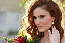 Teardrop Pear Shape Rhinestone Drop Bridal Earrings with Crystal from Swarovski