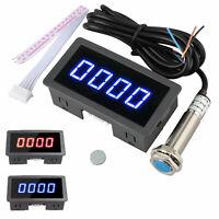 4 Digital LED Tachometer RPM Speed Meter + Hall Proximity Switch Sensor NPN