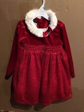 Girls Size 5T Pretty Red Christmas Dress Faux Fur Collar New W/Tag