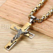 Stainless Steel Bible Verse Jesus Christ Crucifix Cross Pendant Necklace for Men