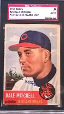 Dale Mitchell Signed 1953 Topps Card #26 SGC Authentic Slabbed