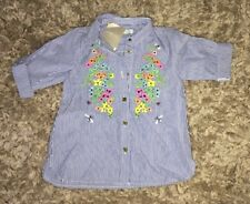 BNWT NEXT BABY GIRLS STRIPED SHIRT DRESS 6-9 MONTHS FLOWER FLORAL WHITE BLUE