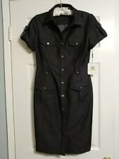 NWT Calvin Klein Gray-Black Denim Stretch Short Sleeve Cargo Military Dress 4