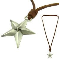 COLLIER pendentif Homme Ou Femme Cuir et étoile en Acier Longueur Réglable