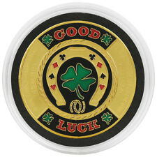 GOOD LUCK - Horseshoe Poker Card Guard in Acrylic Protective Case