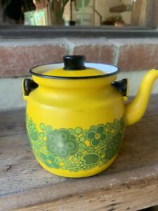 Vintage Enamel Finel Teapot Yellow And Green