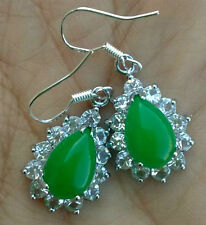 Fashion 925 Sterling Silver Natural Green Jade Gemstone Marcasite Earrings