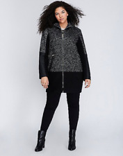 LANE BRYANT Boucle Faux Leather Coat 14/16 Black White Wool Walker