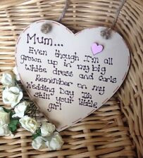 Personalised Gift Chic Heart Plaque Mother Of The Bride Wedding Present Keepsake