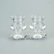 A Pair of stylish Glass Taper Dinner Candle Holders