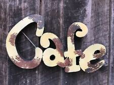 """Recycled metal  Retro """"CAFE"""" Sign - Vintage Soft Yelloww Rusty Patina  - Kitchen"""