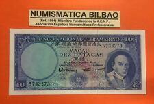 MACAO 10 PATACAS 8.04.1963 PICK 50 UNC @FOLD@ MACAU PORTUGAL PORTUGUESE CHINA