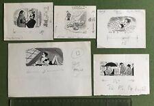 Leslie Starke New Yorker artist 5 Original Cartoons Rain published in John Bull
