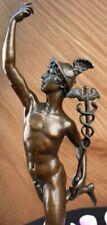 Signed Giambologna Flying Mercury Bronze Marble Sculpture Statue Art Deco Figure