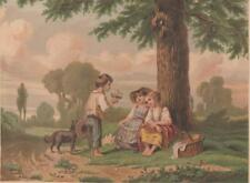 "Antique Lithograph Color Print~Boy Offering Flowers~Rural Lane~7 x 5""~VG c1880"
