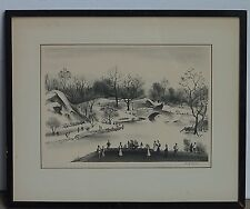 Adolf Dehn American Listed Artist Original Pencil Signed Lithograph Central Park