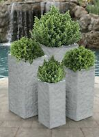 Dark Lion Stone Square Planter Set Of 4 Vases Urns Bowls Fiberglass