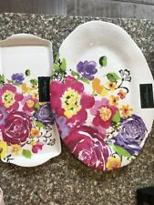 Cynthia Rowley Floral MELAMINE Serving Platter And Snack Tray New