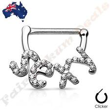 316L Surgical Steel Silver Ion Plated Nipple Bar Clicker Crystal Paved SEXY