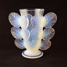 French Sevres Glass Rose Leaves Vase by PIERRE D'AVESN