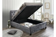 Fabulous Contemporary Ottoman Bed Frame In Steel Crushed Velvet 5ft Bed Frame