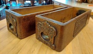 Two matching Vintage Treadle Sewing Machine Drawers Decorative face & side