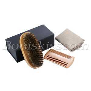 Men's Beard Mustache Care Boar Bristle Hair Brush Oval Wood Handle Comb Gift Box