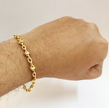 Fine Jewelry 18 Kt Real Solid Yellow Gold Men's Bracelet 8 Inches 5.210 Grams