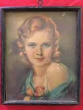 Vintage 1930's Reprint Picture With Wooden Frame - Red Head - Blue Eyes - Roses