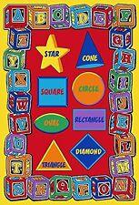 Kids Rug 5x7 ABC SHAPES Childrens School Classroom Educational Rug - Non Skid