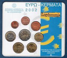 Coffret BU Grèce 2002 Tirage 50000 Exemplaires Greece 8 pièces 1 ct à 2 euro