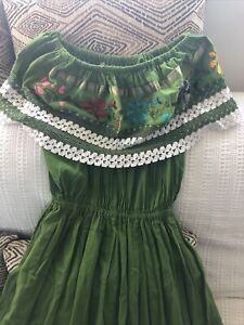 Mexican  Peasant Style Embroidered Green Dress Large