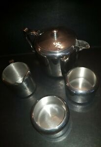 VINTAGE OLD HALL TEAPOT HOLDS 2 PINTS  PLUS TWO SUGAR AND  ANOTHER MILK