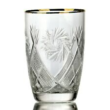 Russian European Hand made cut crystal glasses Gold Rimmed Whisky,Cognac-Set of6
